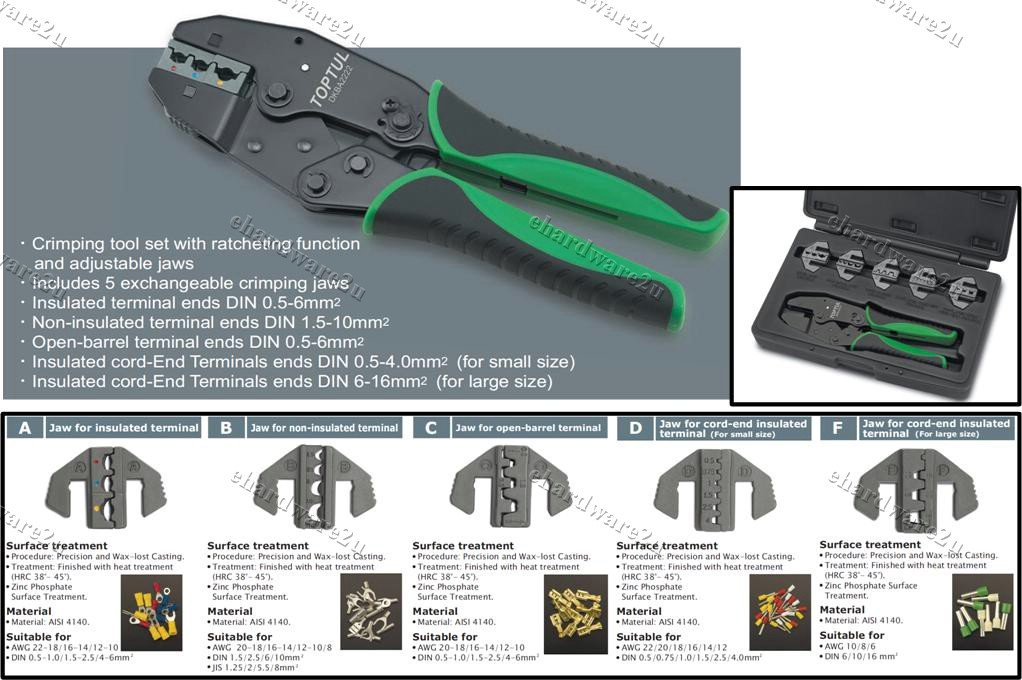TOPTUL 6in1 Quick Interchangeable Ratchet Crimping Tool Kit (GAAI0605)