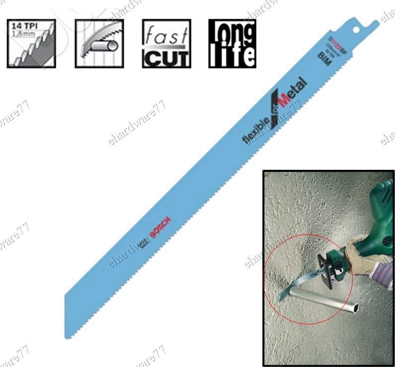 "Bosch 225mm (9"") BIM Metal Sabre Reciprocating Saw Blades 14TPI (S1122BF)"