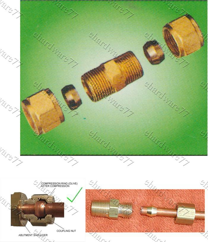 """Compression Coupling for Copper and Brass Tubing 1/4"""" (DUCM2)"""