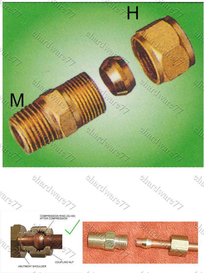"""Compression Male Connector for Copper and Brass Tubing 1/4""""Hx1/8""""BSP (DCM21)"""