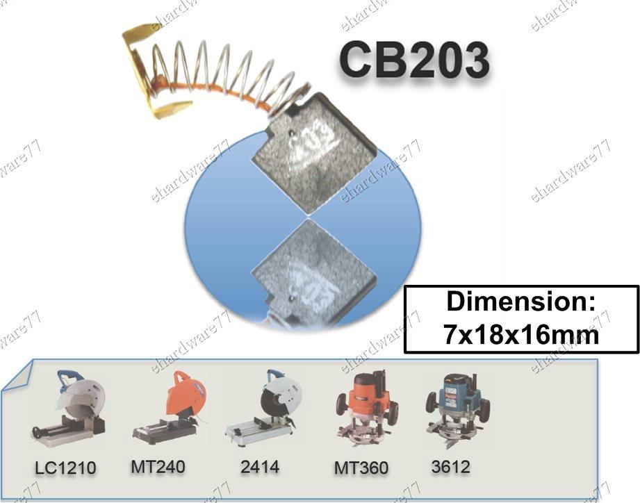 Carbon Brush Set Replacement 7x18x16mm Makita Cb203