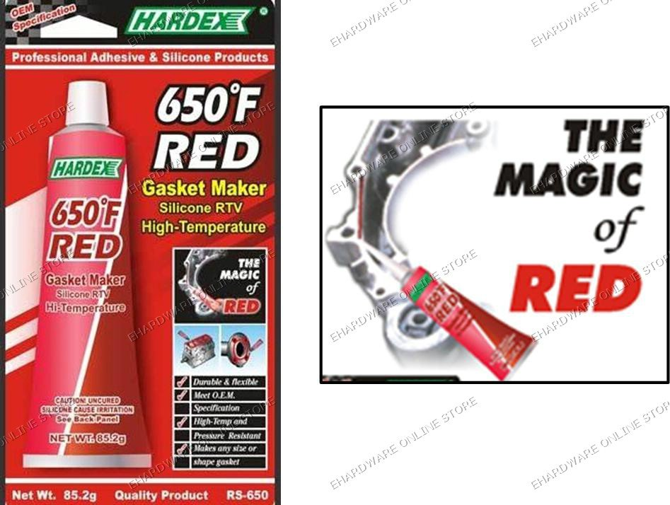 HARDEX Hi-Temp RTV Silicone Red Gasket Maker 85.2g (RS650)
