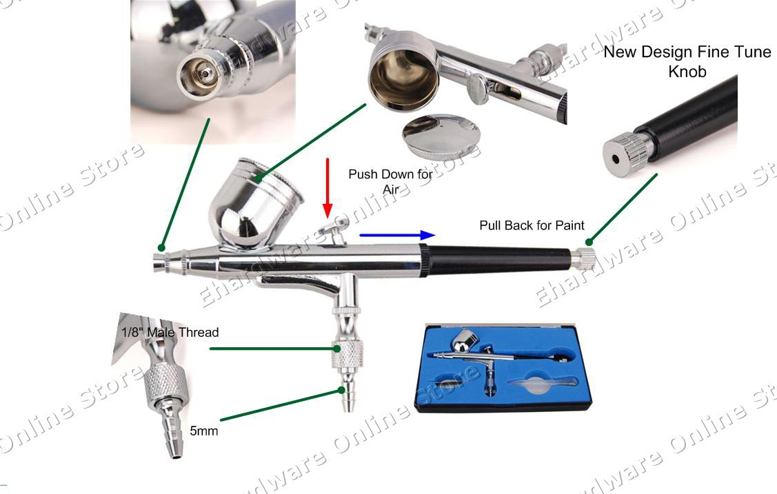 Gravity Feed Fine Painting Double Acting Airbrush 0.3mm (BD130)