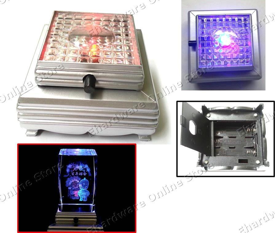 3 Led Colorful Light Crystal Figurine Display Square Base