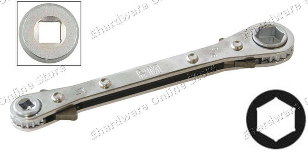 4 Size Square Amp Hex Refrigeration Valve Ratchet Wrench