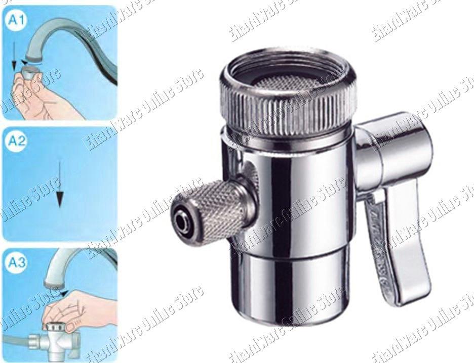"""1-Way Water Filter Diverter Valve Compression Fit 3/8"""" Tube (DVB38QC)"""