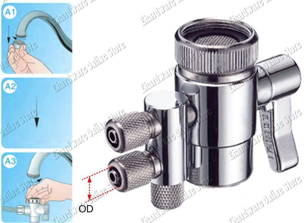 """2 Connection Tube Water Filter Diverter Valve Compression Fit 3/8"""" Tube (CQDB38)"""