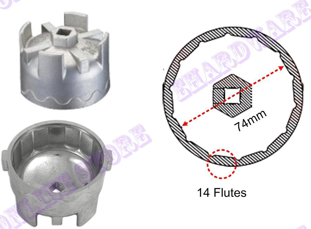 Benz / Smart Oil Filter Cap Wrench 74mm P14 (WH903L)