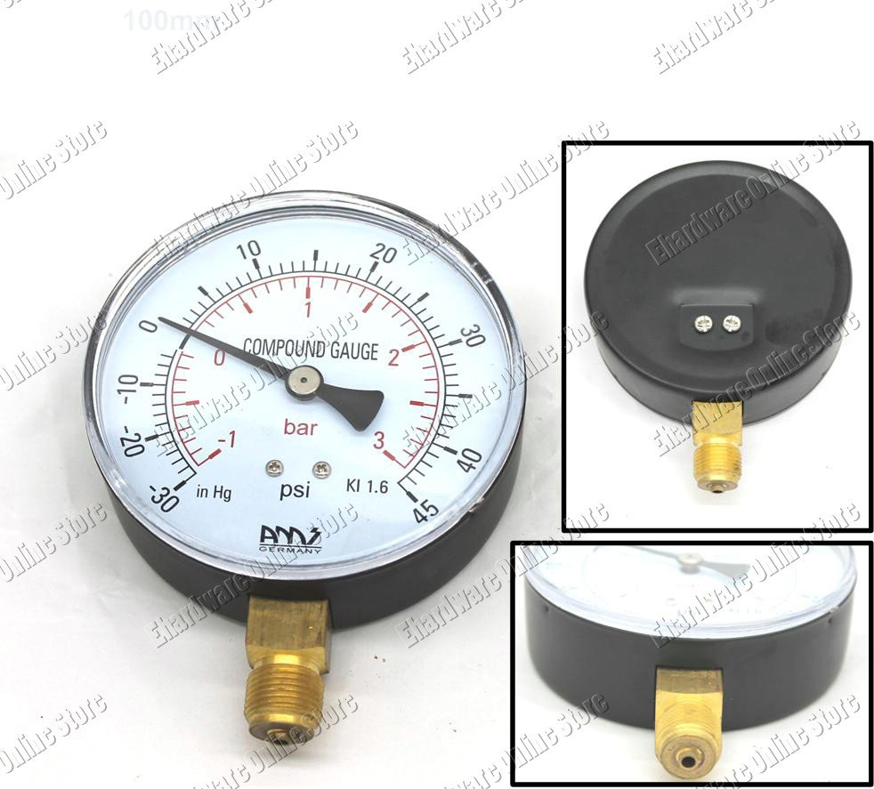 100mm Dial Boost Vacuum Compound Gauge 100mm -30 +45Psi (BV100-3)