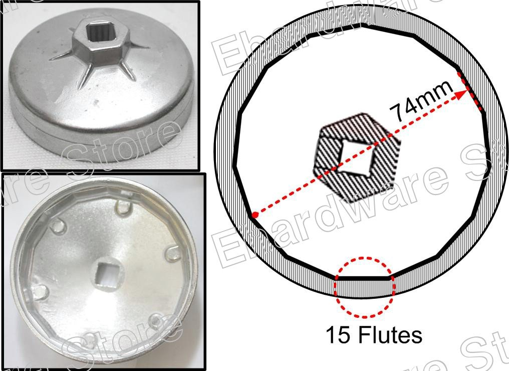 Oil Filter Cap Wrench 74mm P15 For Chrysler, GM, MF, Rover (WH9033)