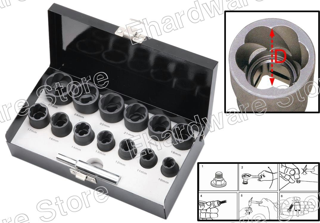 "14Pieces 1/2""DR Twist Socket Set Removes Damaged Screws & Bolts 10-27mm (1321ES)"