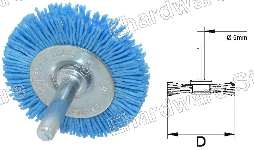 Abrasive Nylon Bristle Wheel Brush With 6mm Shank 50mm
