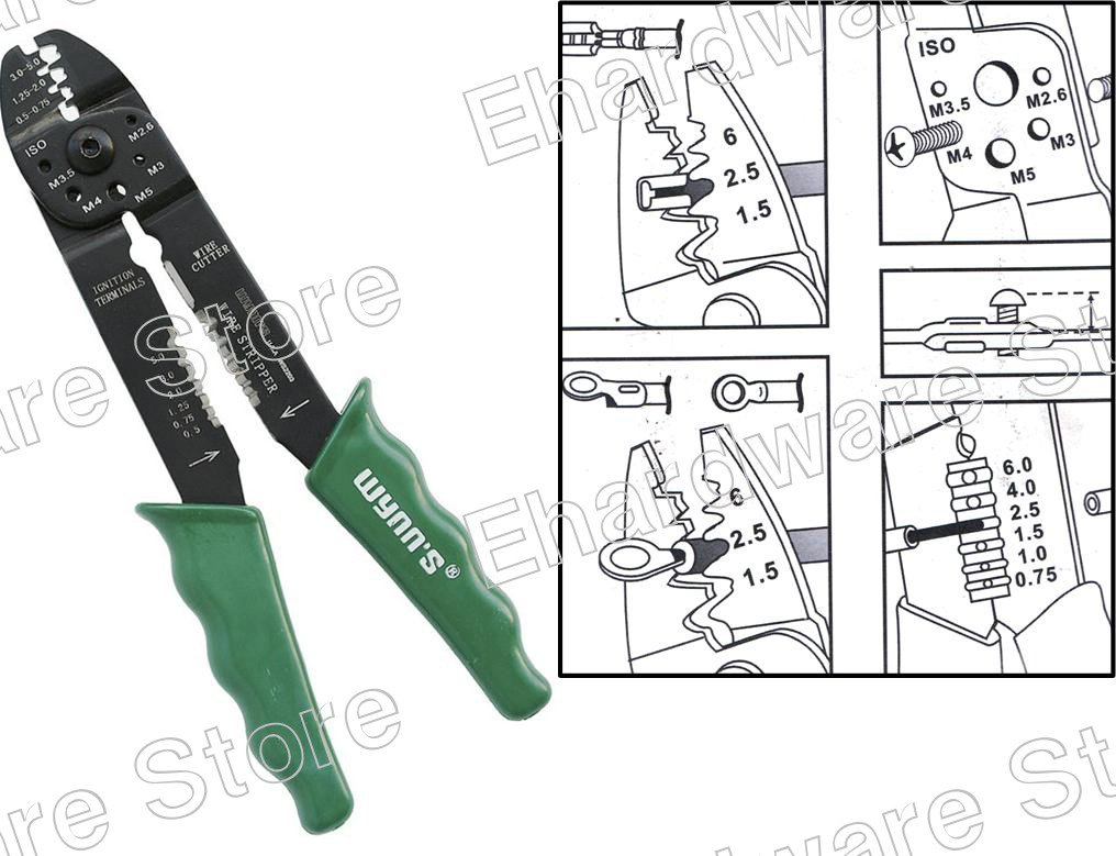Multi Wire Terminal Crimper, Cutter & Stripper Pliers (WS2203)