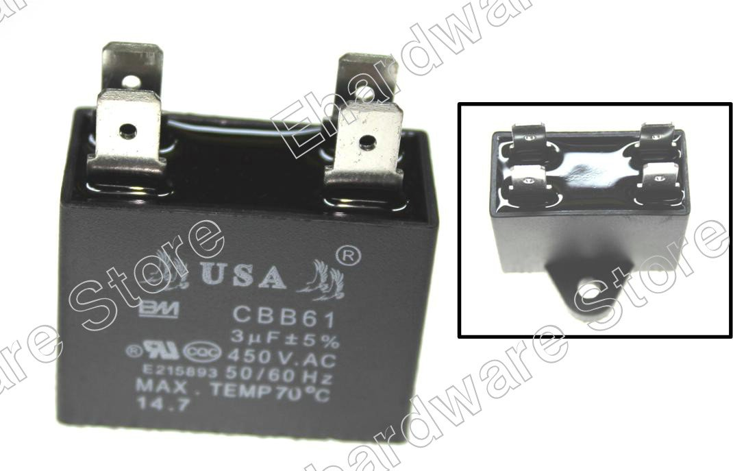 Air Conditioner AC Motor Fan Capacitor 1.0uF (CBB61)