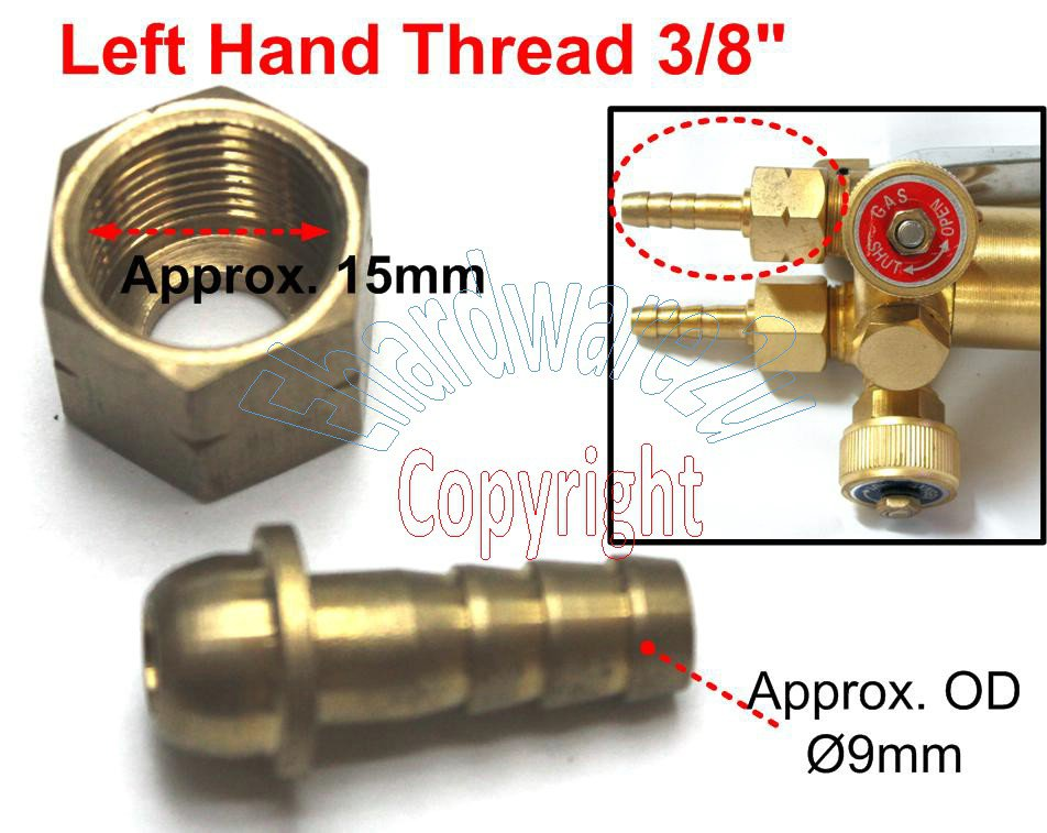 """Welding Torch 5/16"""" Hose Fitting with Left Hand Thread Swivel Nut 3/8"""" (C56L)"""