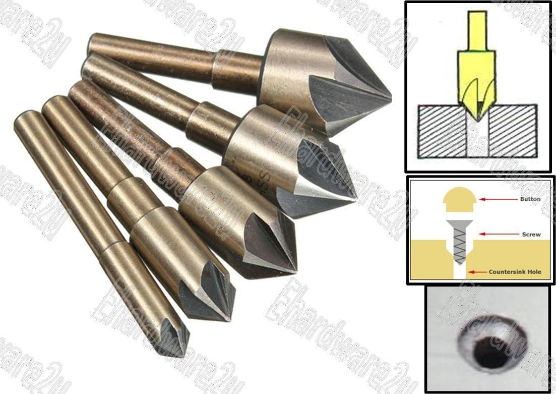 5Pcs Flute Countersink HSS Drill Bit Set (6012N5)