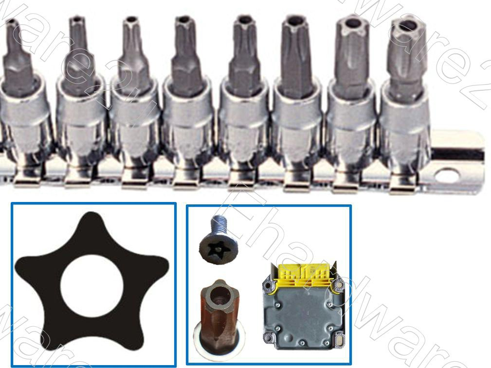 "Five Points Auto Sales >> 8PCS 5PT 1/4""DR Car Repair Security Pentacle Bit Socket Set (GAAG0805)"