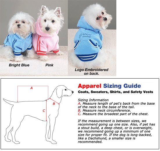 Sporty Fleece Pullovers Dog Clothes Pink or Blue (SM)