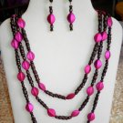 Wooden and Fuchsia Triple Strand Necklace, Bracelet, Earrings