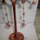 Purple Dangle Twist Earrings