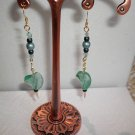 Green Dangle Twist Earrings