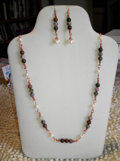 Fancy Jasper and Pearl Necklace and Earrings