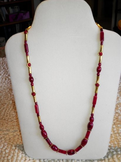 Red Glass and Brass Dramatic Necklace, Bracelet, Earrings