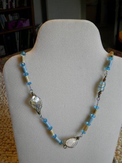 Wire-wrapped art glass blue necklace, earrings, bracelet