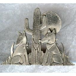 PEWTER Pin - Coyote Couple in Love!  (Signed)