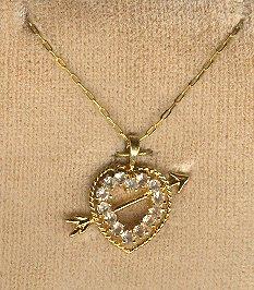 Vintage gold filled RS HEART & Arrow Pendant STERLING *NIP*