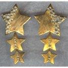 FABULOUS Golden Cascading STARS Earrings -- Rhinestones