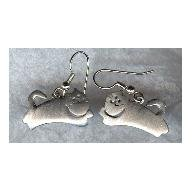 Vintage Scandinavian style Pewtery Kitty Cat earrings