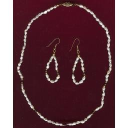 Vintage Freshwater PEARL & AMETHYST Necklace & Earring Set