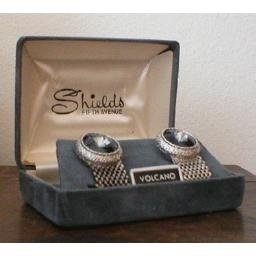 ESTATE boxed CUFF LINKS - signed Shields 5th Avenue *AMAZING Faceted Stones*