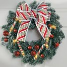 Lillian Vernon Pre lit Christmas Candy Cane Wreath NEW