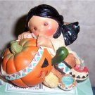 Friends of the Feather Smile Carver Indian Girl Carving Pumpkin Figurine 1995  New