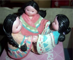 Friends of the Feather Feathered Friends Indian Girls Dancing Figurine NEW 1994