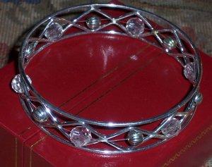 Silver Wire & Crystal Bead Bangle Bracelet