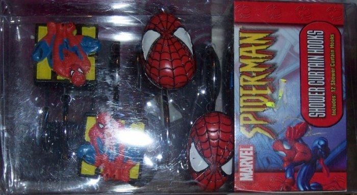 Marvel Spiderman Shower Curtain Hooks 12 Hooks
