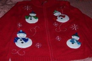 Christmas Snowman Jacket SZ M Petite NEW Red Snowflakes