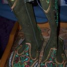 Green Suede Mocassin Beaded Boots Stermax & Co NEW Size 1
