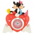 Disney Mickey and Minnie Heart Shaped Quartz Analog Mini Clock