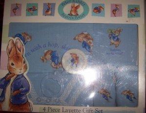 Peter Rabbit 4 Piece Layette Gift Set Boy Rattle Bib