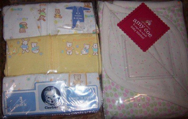 Bunny & Duck 3 Sleepers + Baby Blanket NEW 0-3 Months