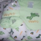 5 Piece Ribbit Boys Baby Gift Set Frogs 0-6 Months
