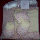 5 Piece Baby Girls Gift Set Pink with Butterflies 0-6 months