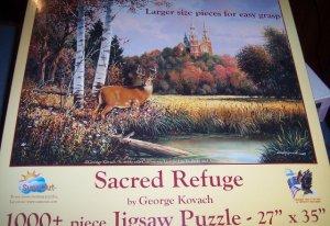 Sacred Refuge Kovach Puzzle Fall Foilage Deer Church