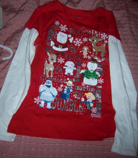 rudolph the red nosed reindeer girls bling shirt size 14