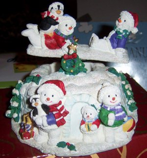 San Francisco Music Box Company Seesaw Snowmen Musical Figurine