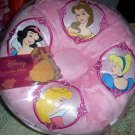 Disney Princesses Round Pink Speaker Pillow Belle Snow White Cinderella Aurora NEW